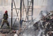 آتش سوزی در انبار ضایعات پلاستیکی