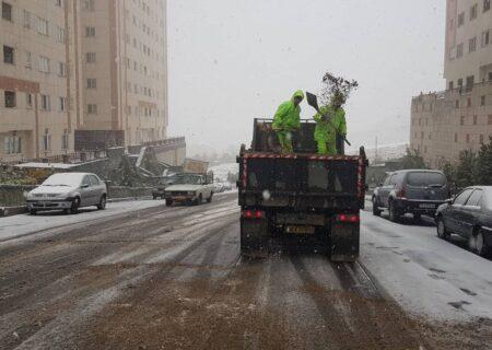 مانور برف روبی ورودی غربی پایتخت با حضور مسئولین شهری و استانی برپا شد